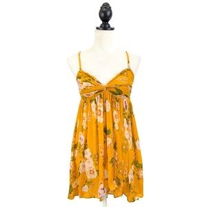 Free People Mirage Floral Flowy Tunic Top Yellow
